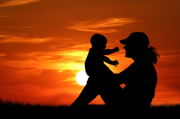 mother-and-baby-at-sunset